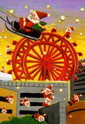 梅田の地下街で、心急き(こころぜき)なサンタ 街はクリスマスで一色に染まり、 今年も梅田の商業施設に、たくさんのサンタが来る。 ここにある最新のプレゼントを仕入れ、 すべての人に幸せを届けようと いつもの地下街を抜けてサンタはやって来る。 ただ毎年、迷路のような街に戸惑う。 去年あったお店は無くなっている。 街は変化し、開発と停滞、統合と撤退を繰り返す。 去年の情報は、もう役にたたない。 迷いながら、焦りながら師走にサンタも走っている。 聞こえてくるのはジョン・レノンの歌、 この時期の変わらぬ定番になった