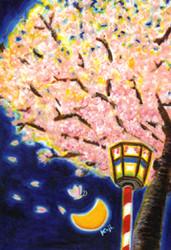 桜ノ宮で、間(まア)わるう魅いられた 大阪造幣局「桜の通り抜け」より少し前、 桜ノ宮大川ぞいは、花見の宴で遅くまで明るい。 満開の桜に誘われ、夕方から呑み始めると、 花曇りの空は、だんだん深い色に移る。 昼と夜が入れ替わる逢魔が時に、 ふと見上げた桜は、群青を背景に白く透きとおる。 無数の花びらが悪悪う冴えわたり、 ゾッとするほど妖しく美しい。 もちろん樹の下に何かが埋まっているはずもなく、 ただ光の加減と空気の密度、見える角度で姿は変わる。 それも一時のこと、夜もふければ、まだ肌寒く 知人は、ぼつぼつ一