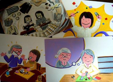 NHK総合・Eテレ「すてきにハンドメイト」「こころがほっこり小さなお地蔵さま」 作家さん紹介の紙芝居原画、小道具 2012年 9月放送