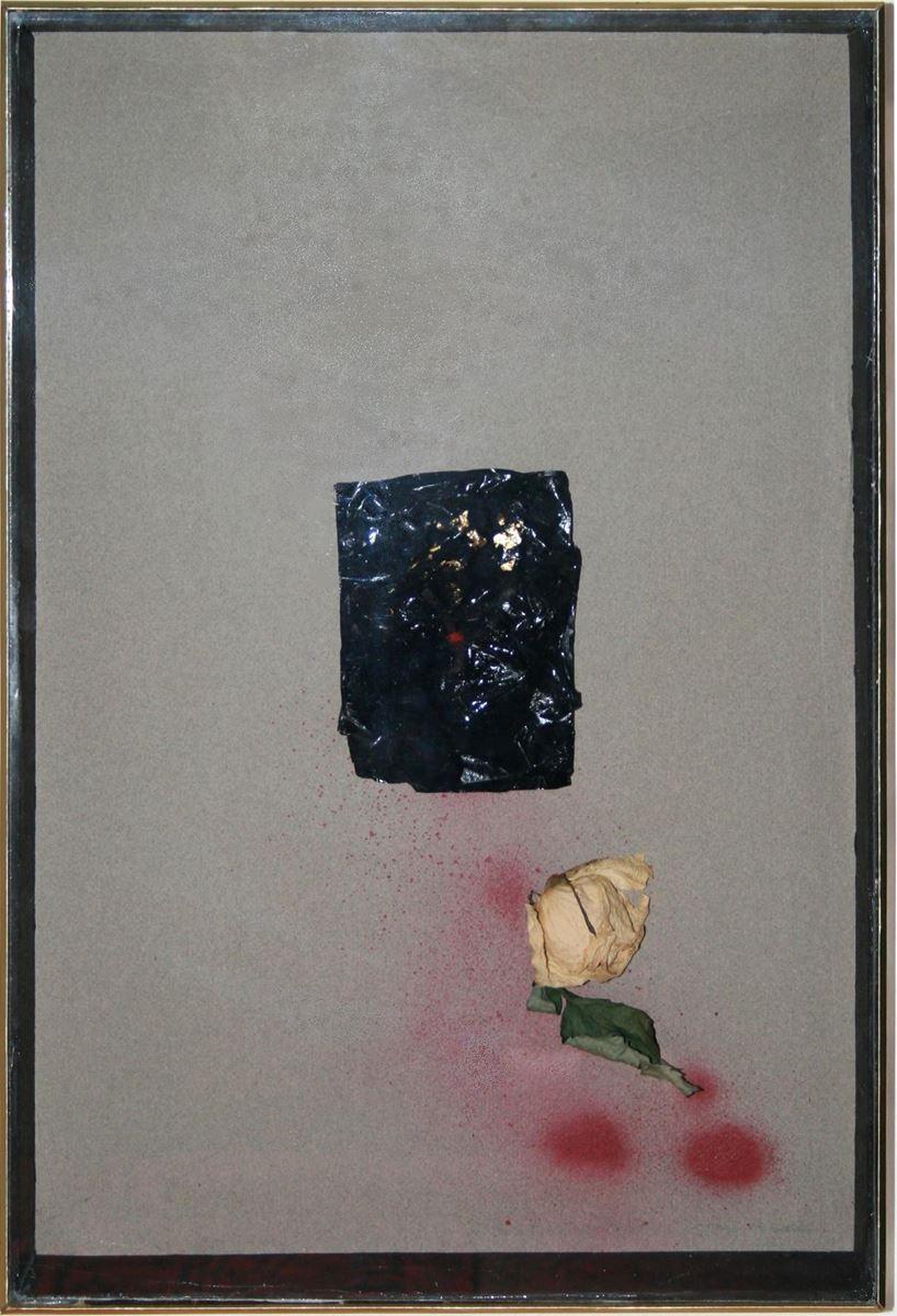 Travail de deuil. Technique mixte sur papier. 62 x 41 cm