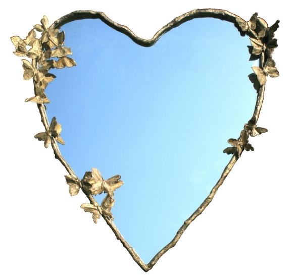 Ton coeur s'envole-t-il parfois?... Bronze et miroir. 115 x  108 cm