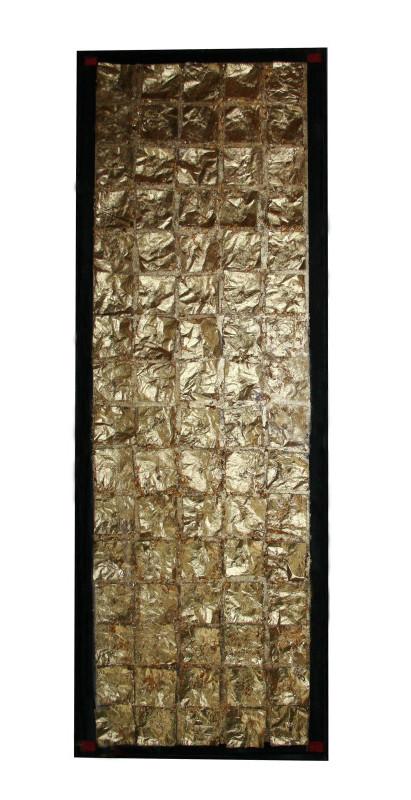 Partitură, simfonie sau requiem,  tehnică mixtă pe pânză, 46 x 138 cm