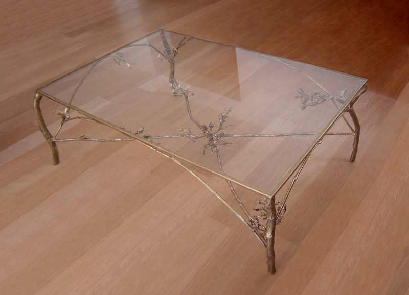 Table, bronze and glass, 120 x 80 x 50 cm