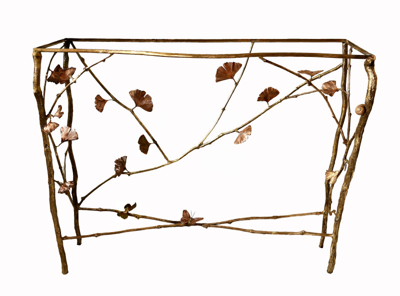 Console table, bronze, copper patina and glass, 100 x 40 x 120 cm