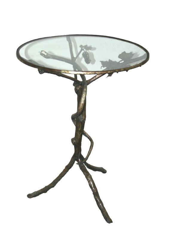 Gheridon, bronz şi sticlă, 73 x D 62 cm