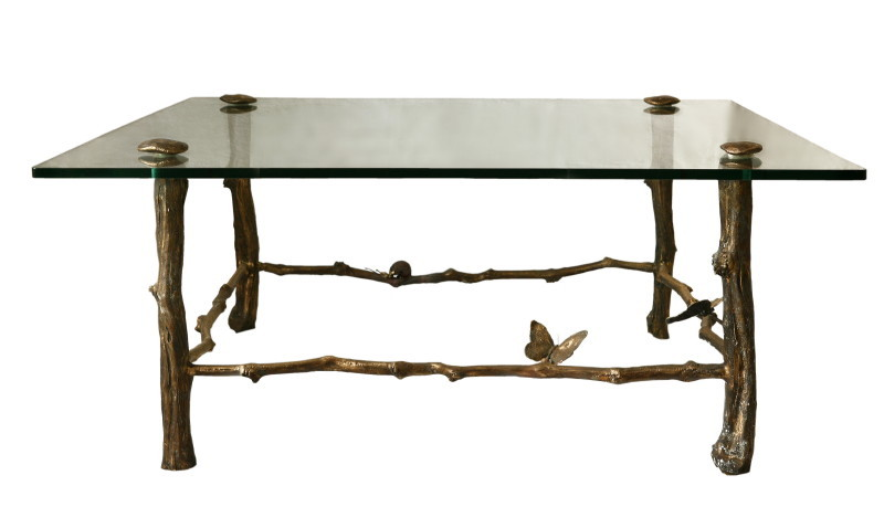Masă, bronz şi sticlă, 113 x 111 x 48 cm
