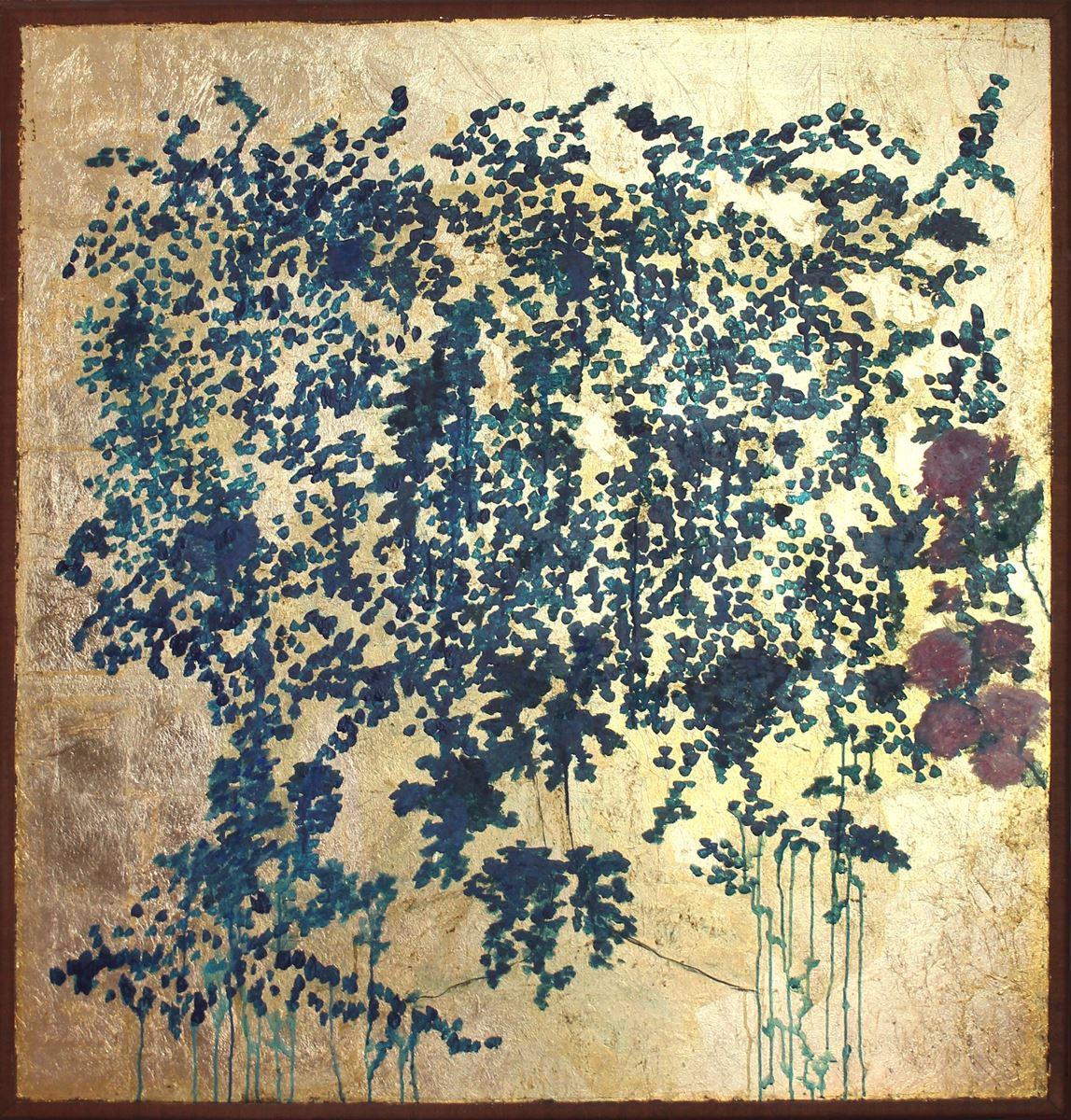 Jardin japonais. Technique mixte sur bois. 134 x 129 cm
