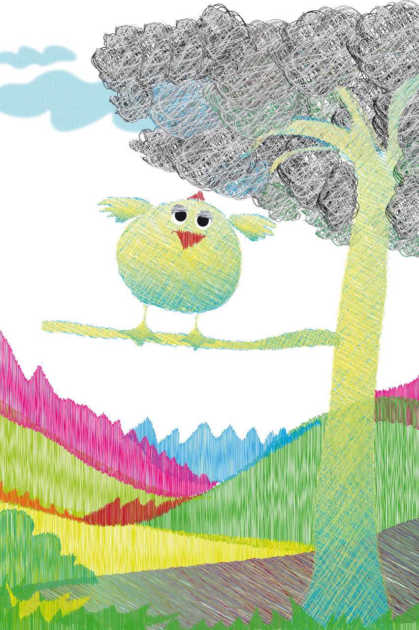 Pollo en árbol