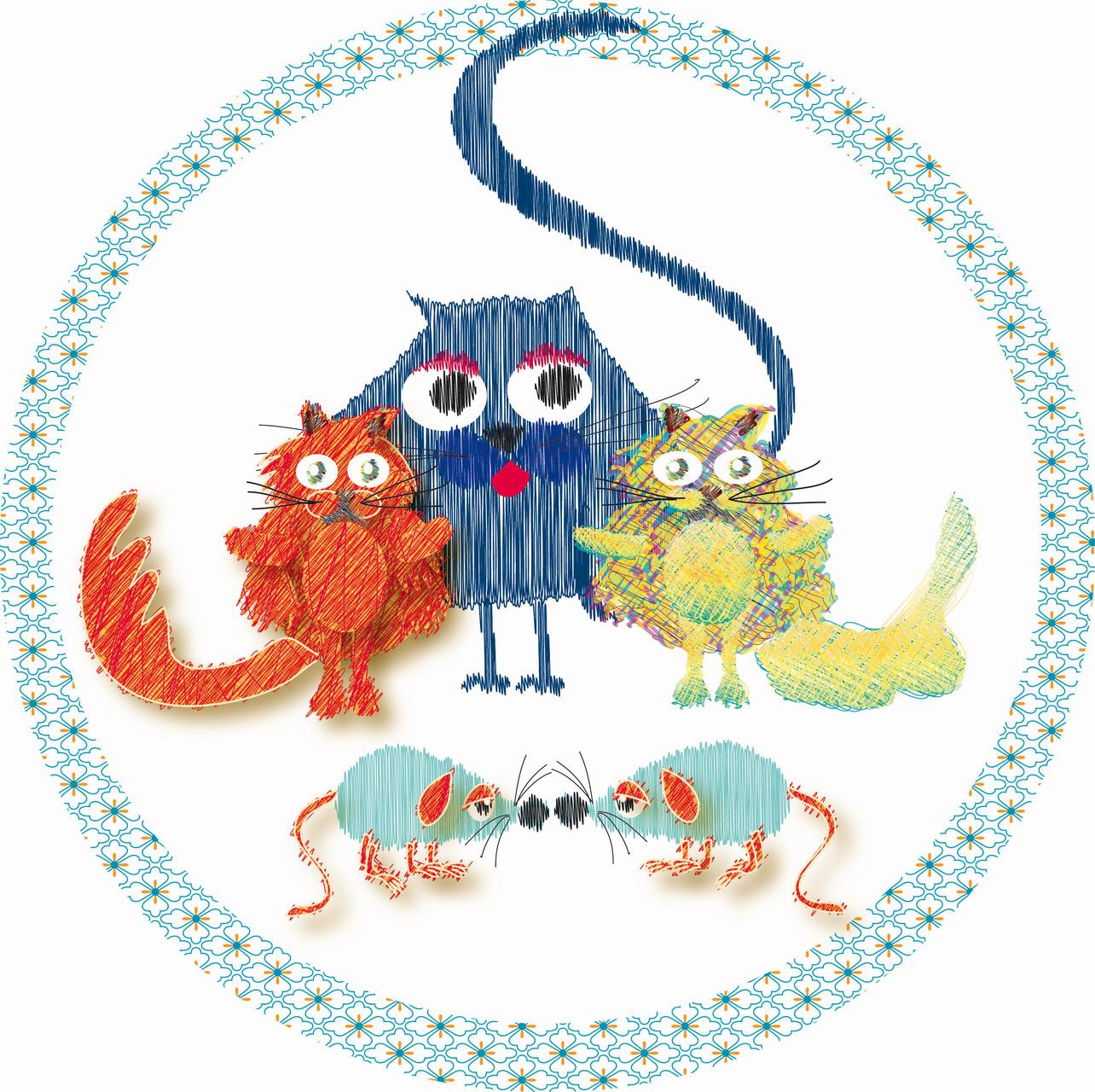 Gatitos en círculo y ratones