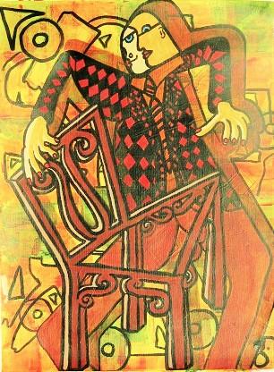 Doubleman,(l'homme double), huile sur toile, 60 x 46 cm