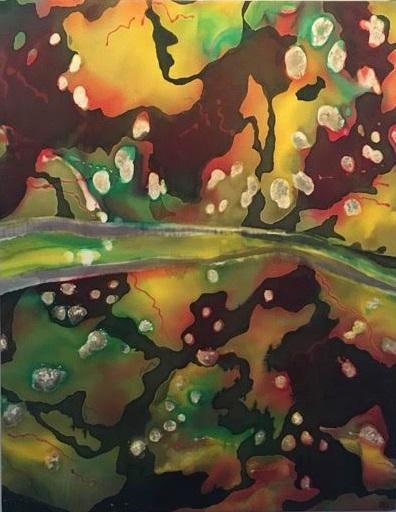 1. Resilient landscape       Silc painting,                                                              60 x 48 cm.        2018