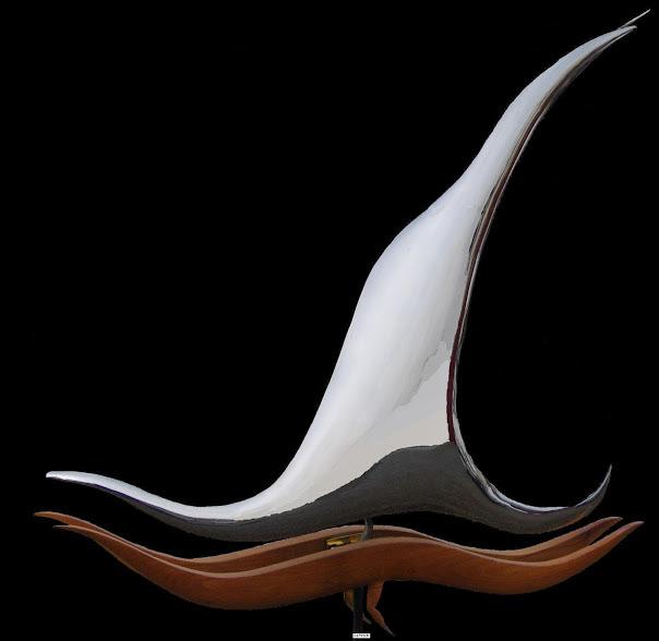 """Navio"" 80x80x23 inox poli miroir et acacia"