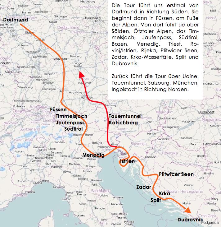 Grafische Abbildung der Tour. Kartenquelle als Basis für die eigene Darstellung: openstreetmap.org