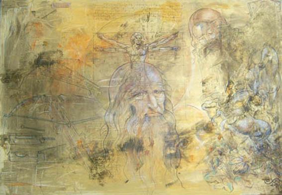 Hommage à  l.d.v.  - of arms and men    Kreide, Acryl auf Leinen 70 x 100 cm