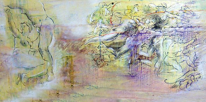 Michaelsparade II...Ausschnitt 185  x 44 cm lack auf holz
