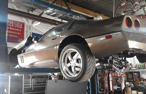 1986 Chevrolet Corvette on vehicle lift