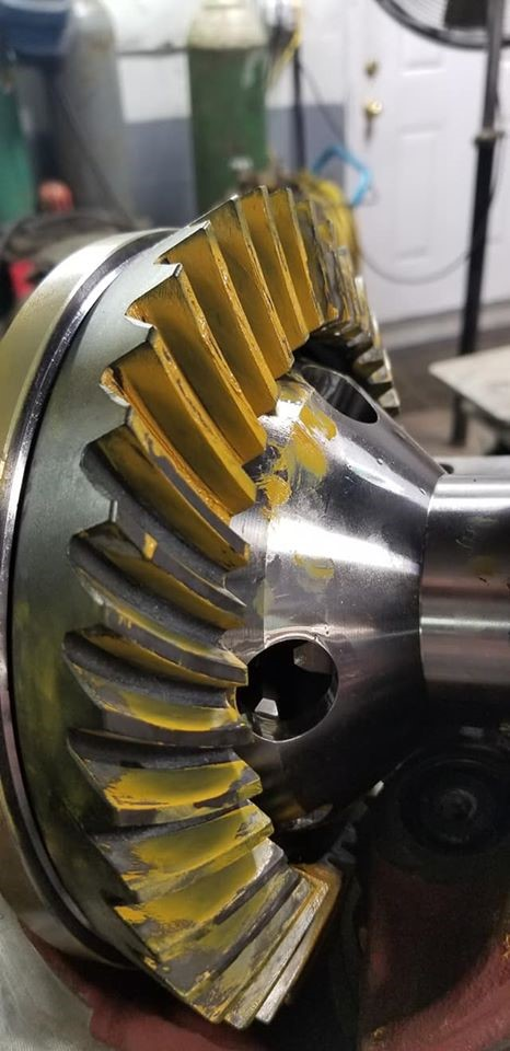 Yellow paste applied to ring gear in 1966 Ford Mustang