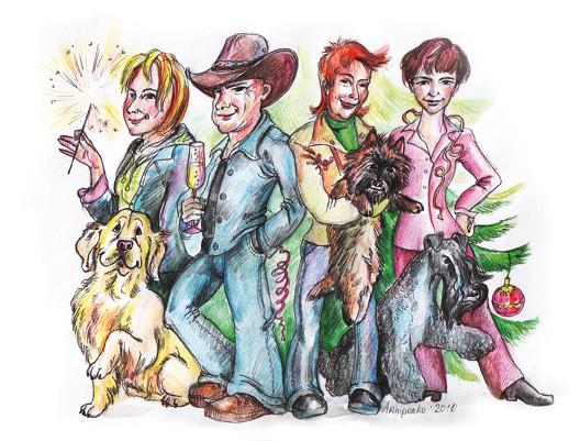 """Дружеский шарж на коллектив редакции журнала """"Друг. Для любителей собак"""". Можно было видеть в №12 за 2010 год."""