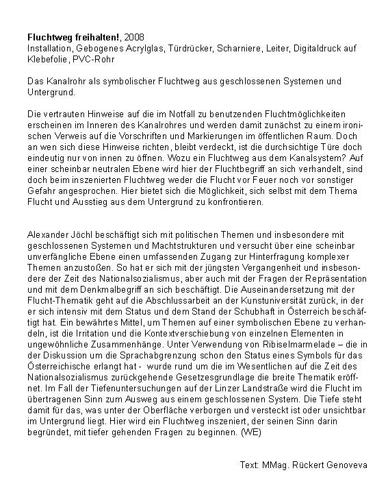 Fluchtweg freihalten! - Tiefenrausch, O.K. Centrum für Gegenwartskunst, Linz