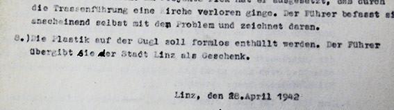 Dokument aus dem Archiv der Stadt Linz