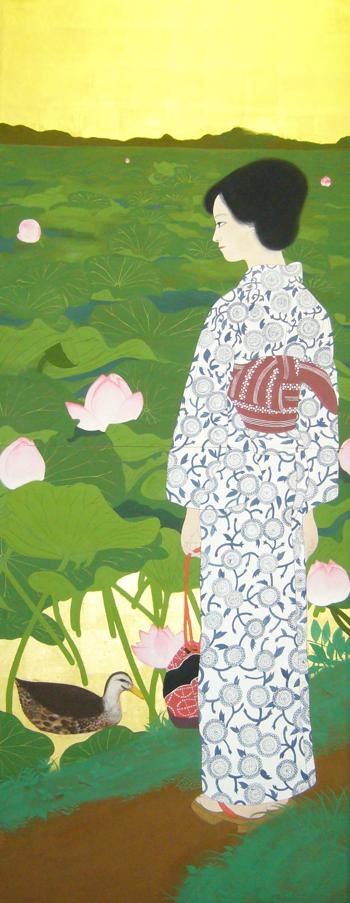「蓮」2005年制作  233cm×182cm 雲肌麻紙・金箔・岩絵の具・膠