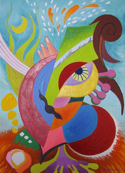 「旋律」 サイズ:242×333 キャンバス、アクリル絵具、マニキュア、クレヨン、鉛筆、色鉛筆
