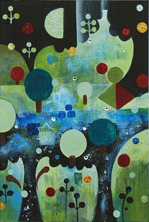 「ポーションの泉」アクリル絵の具・スワロフスキー石・ラメ 、F1&hellip価格 15000円(額代込)