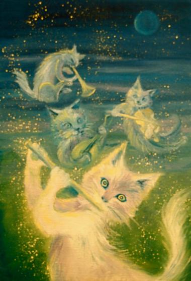 「猫弾きブルーナイト」サムホール/油彩