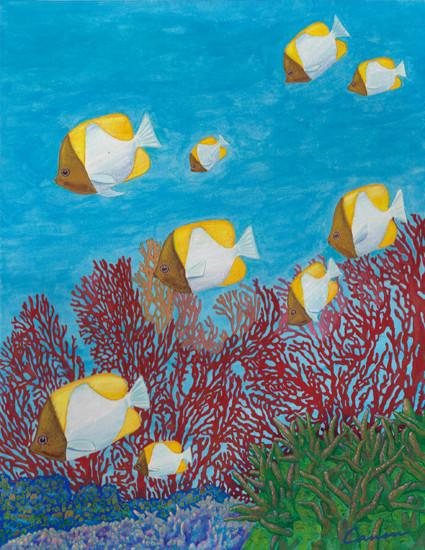 「Blue Silence」 サイズ:380×455 キャンバス、アクリル絵具、マニキュア、ラメ