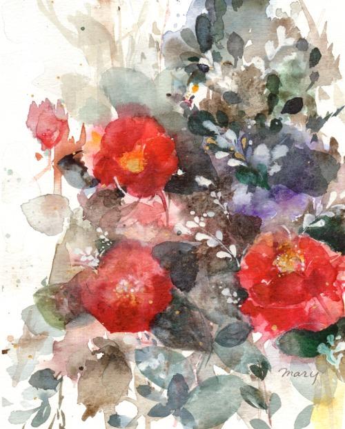 「椿の咲く頃」透明水彩絵の具、F2&hellip価格 15000円(額代込)