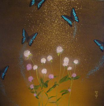 「光」2011年制作 45.5cm×45.5cm 土佐麻紙・岩絵の具・金箔(砂子)・膠・アルミニウム