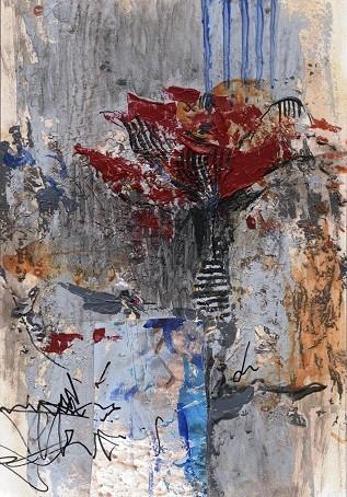 「赤いバラ」H 227mm×W 158mm 水彩紙・アクリル