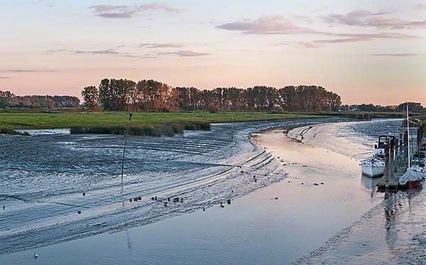 Wischhafener Suederelbe tidal river at low tide