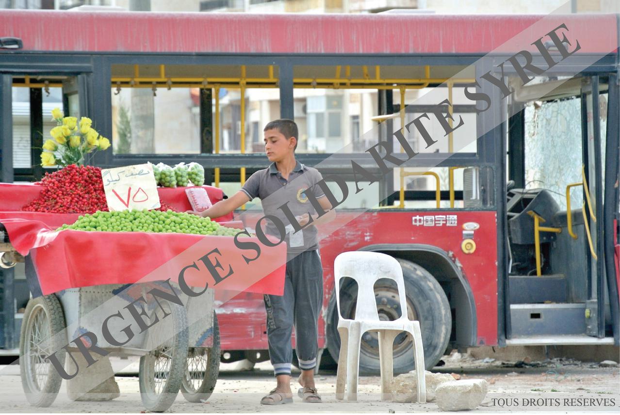 """Un jeune vendeur de """"Janerek"""" (prunes vertes), près d'un bus utilisé comme barricade, dans le quartier d' Inshaa'at, à Alep, le 07/05/2013."""
