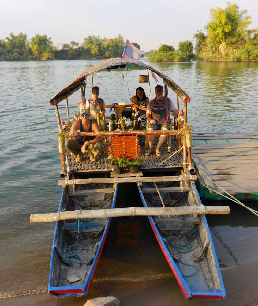 Birthday sundowner boattrip on the mekong river with my friends