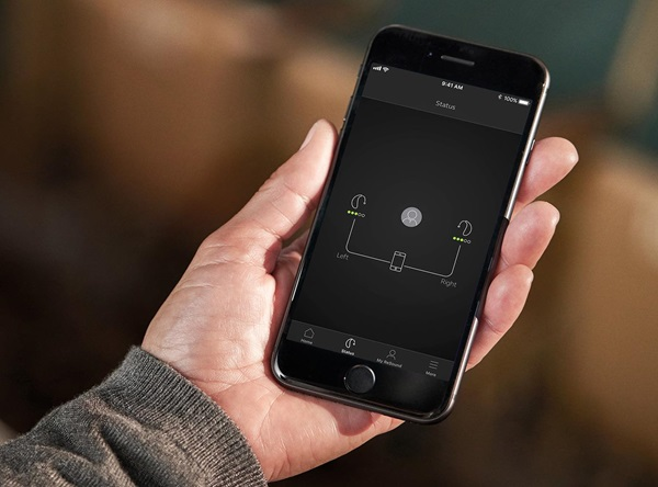 Battery power at your finger tips You can track the battery status of your rechargeable hearing aids, and get a notification when they need recharging. While charging, the app tracks the progress and let you know when they are ready for use.