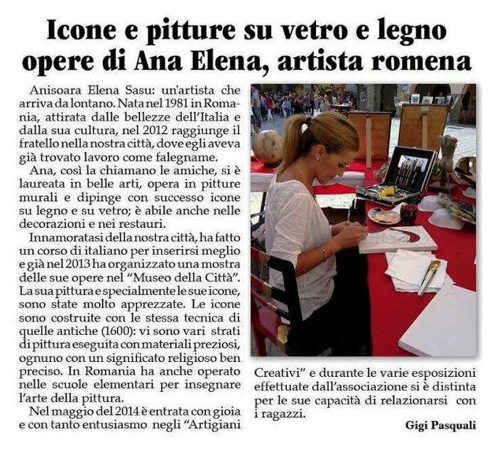 settimanale LA TREBBIA e Ana Elena Sasu  20 novembre 2014