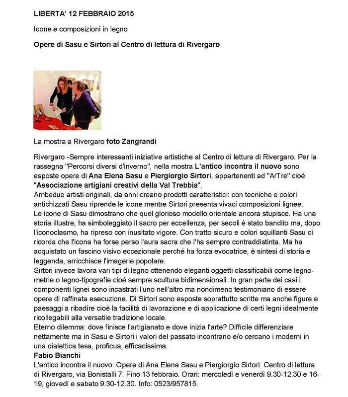quotidiano LIBERTA' e Ana Elena Sasu:  Mostra L'Antico incontra il nuovo 12 febbraio 2015