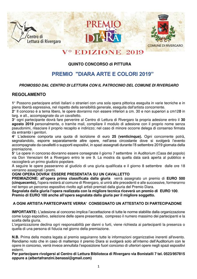 Rivergaro: Premio Diara Arte & Colori V ed 2019