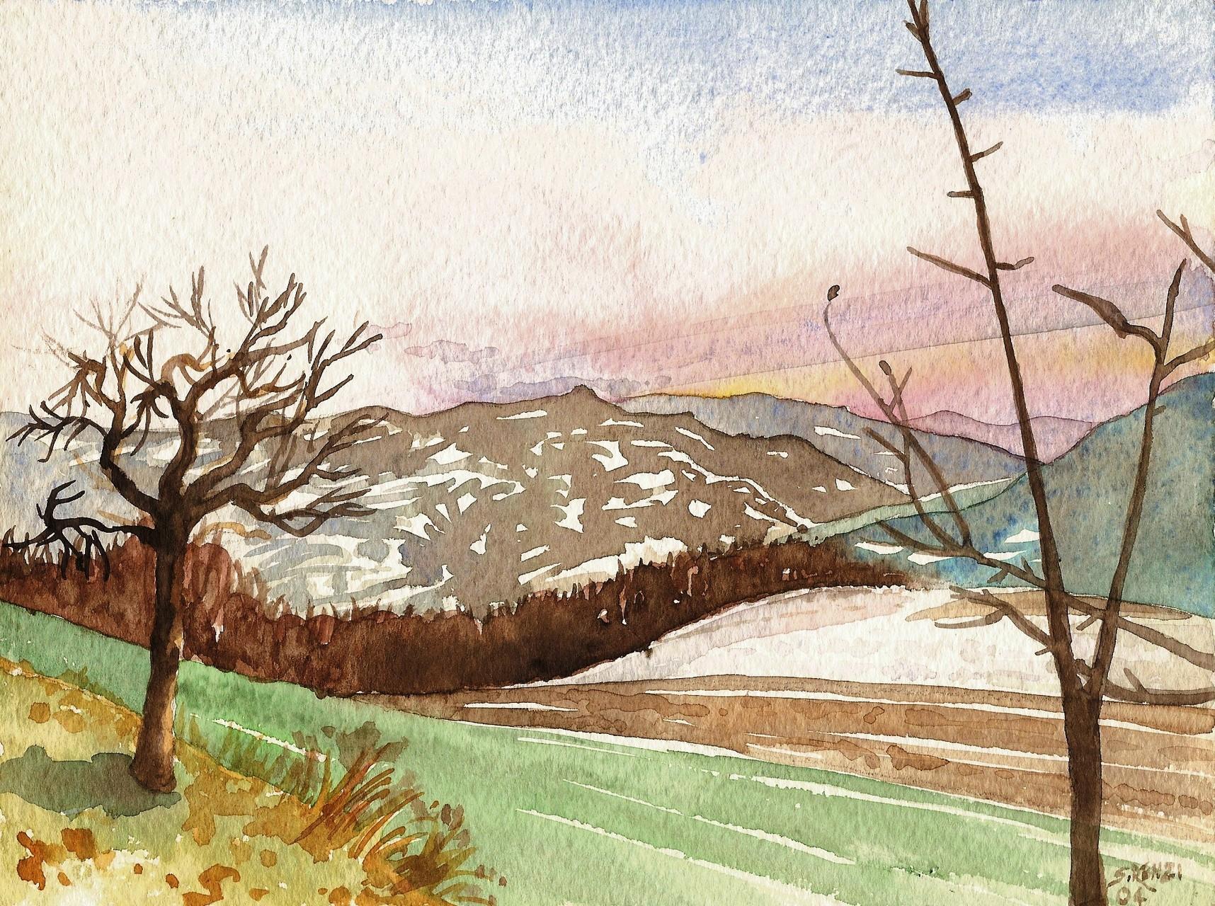 inverno in valtrebbia - acquerello su carta