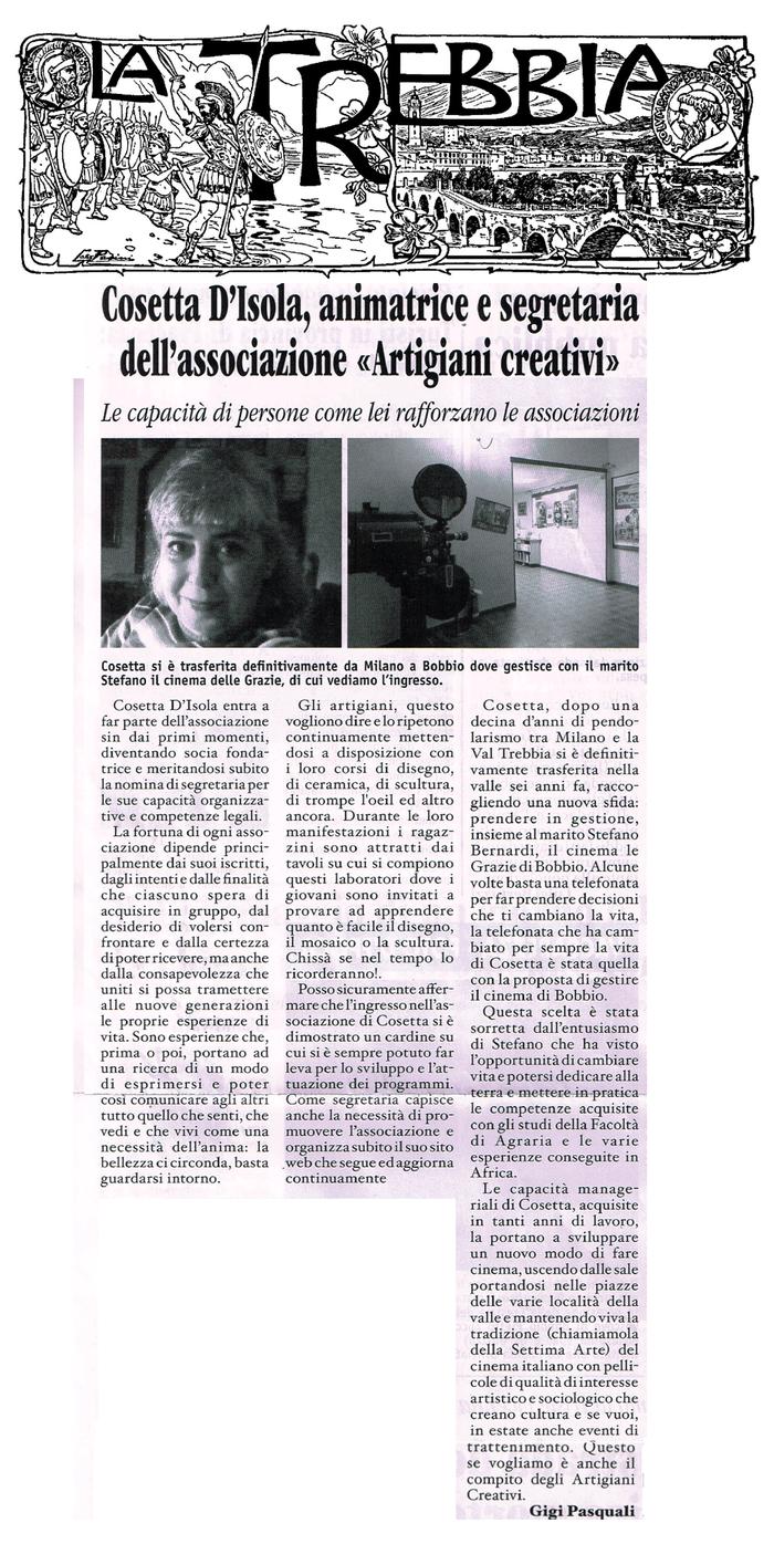 Cosetta D'Isola, animatrice e segretaria dell'Associazione Artigiani Creativi