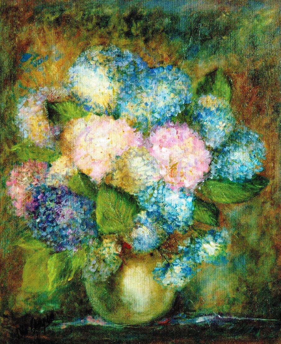 Vaso d'ortensie - tela cm. 50 x 60 Elisa Geyer