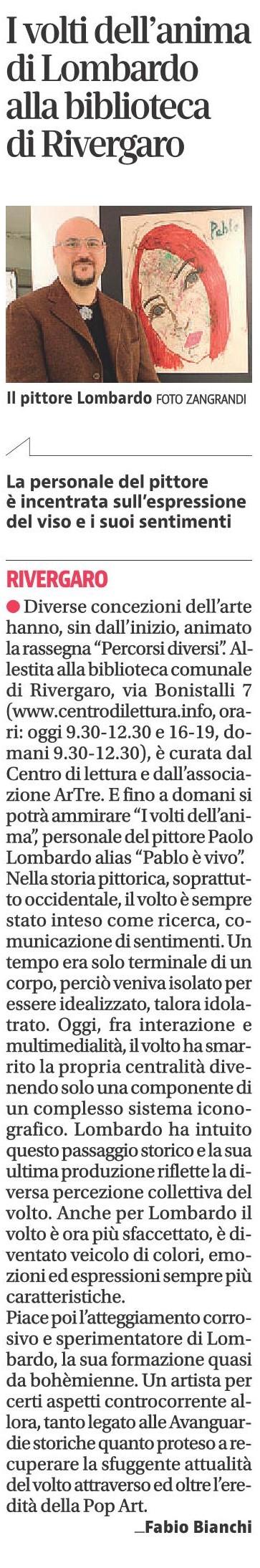 quotidiano Libertà - Paolo Lombardo - Pablo è vivo