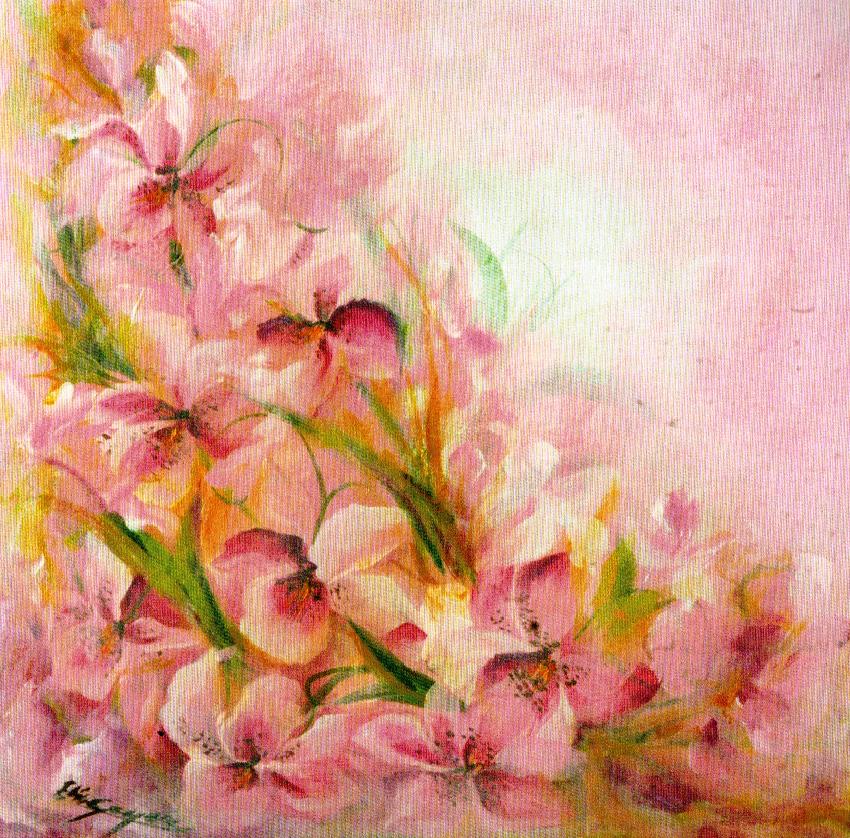 """Viola il fiore più prezioso """"io e te"""" - tela cm. 60 x 60 Elisa Geyer"""