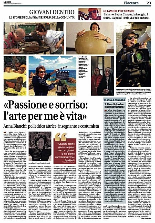 quotidiano Libertà mercoledì 5 ottobre Anna Bianchi  - articolo di Elisa Malacalza