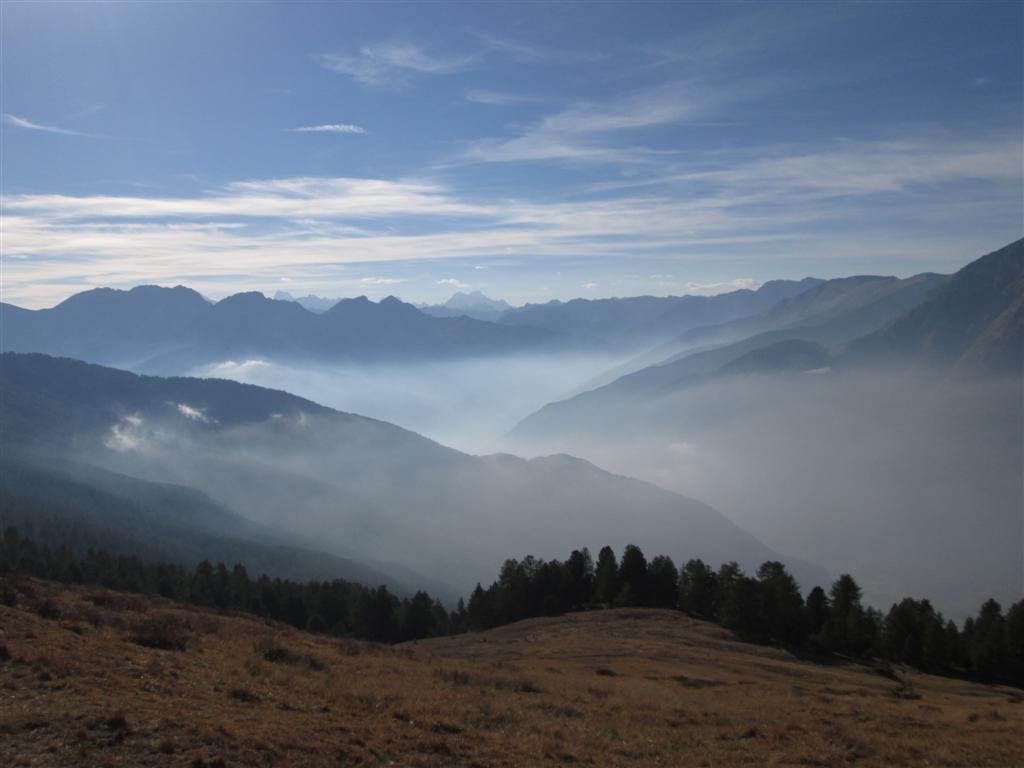 La vallée de Sestrières (brume et pollution)