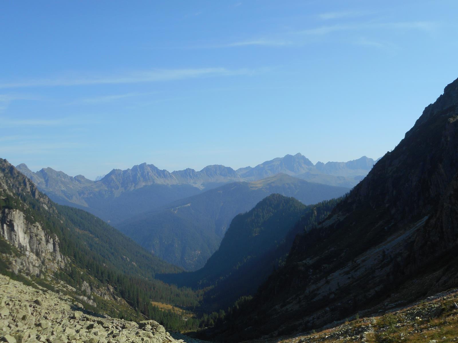 Depuis la Forcla, vue sur le massif du Cece (massif du Panevaggio)