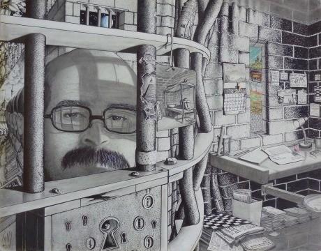 "1. Platz USA, Correctional Training Facility, Soledad, CA 93960 USA ""The Conditions of incarcerated people"" 28x 35,5 cm Mischtechnik auf Zeichenpapier"