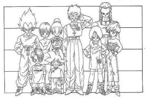 Model sheet delle stature di Vegeta, Trunks, Bulma, Son Goten, Chichi, Son Gohan, Videl, Shapner e Iresa dell'anime Dragonball z tratto dal manga Dragonball dell'autore giapponese Akira Toriyama.
