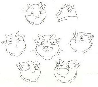 Model sheet raffigurante le espressioni facciali di Janenba dell'original anime video n°12 di Dragonball z.